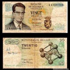 Billetes extranjeros: BELGICA 20 FRANCOS 1964 PIK 138 BC. Lote 67580693