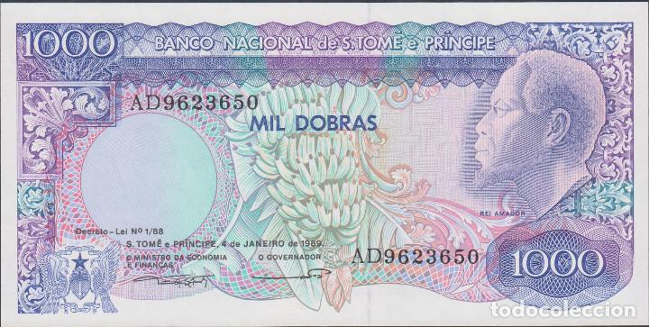 BILLETES - SANTO TOMÉ Y PRINCIPE - 1000 DOBRAS 1989 - SERIE AD 9623670 - PICK-62 (SC) (Numismática - Notafilia - Billetes Extranjeros)