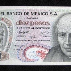 Billetes extranjeros: BILLETE 10 PESOS MÉXICO AÑO 1975 - SIN CIRCULAR (UNC). Lote 67670313