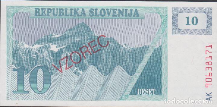 BILLETES - ESLOVENIA - 10 TOLARJEV 1990 - SERIE AK 90638140 - PICK-4S1 VZOREC-SPECIMEN (SC) (Numismática - Notafilia - Billetes Extranjeros)