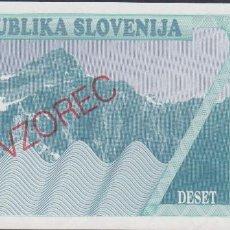 Billetes extranjeros: BILLETES - ESLOVENIA - 10 TOLARJEV 1990 - SERIE AK 90638140 - PICK-4S1 VZOREC-SPECIMEN (SC). Lote 173019732
