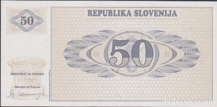 Billetes extranjeros: BILLETES - ESLOVENIA - 50 TOLARJEV 1990 - SERIE AH 90502274 - PICK-5 (SC) - Foto 2 - 188778728