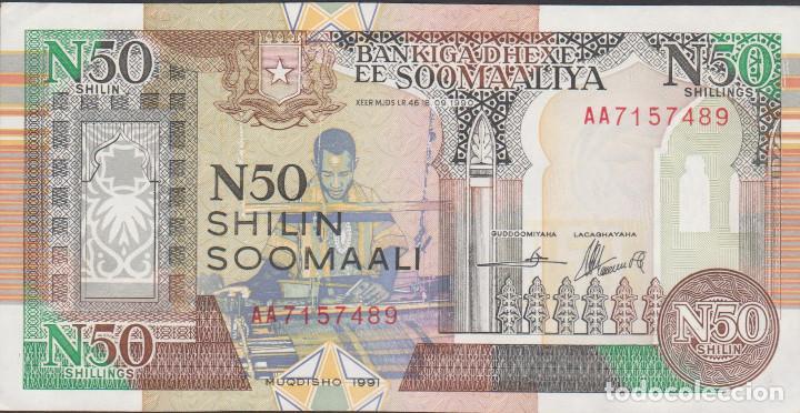 BILLETES - SOMALIA - 50 SHILIN SOOMALI 1991 - SERIE AA7157430 - PICK-R2 (SC-) (Numismática - Notafilia - Billetes Extranjeros)