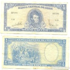 Billetes extranjeros: CHILE 1/2 ESCUDO 1962, FIRMA III PICK 134.A.A. Lote 43489585
