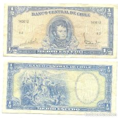 Billetes extranjeros: CHILE 1/2 ESCUDO 1962, FIRMA III PICK 134.A.A. Lote 43489617