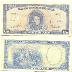 Billetes extranjeros: CHILE 1/2 ESCUDO 1962, FIRMA III PICK 134.A.A. Lote 43489635