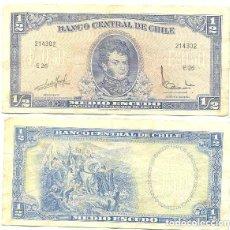 Billetes extranjeros: CHILE 1/2 ESCUDO 1962, FIRMA III PICK 134.A.A. Lote 43489635