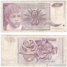 Billetes extranjeros: YUGOSLAVIA 50 DINARA 1990 PICK 104. . Lote 43553124