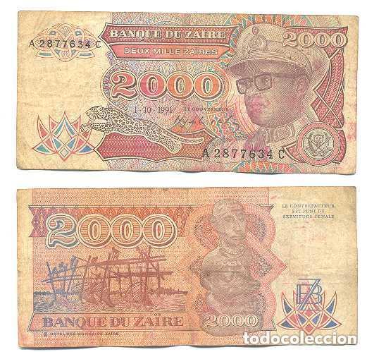 ZAIRE 2.000 ZAIRES 1991 PICK 36.A (Numismática - Notafilia - Billetes Internacionales)