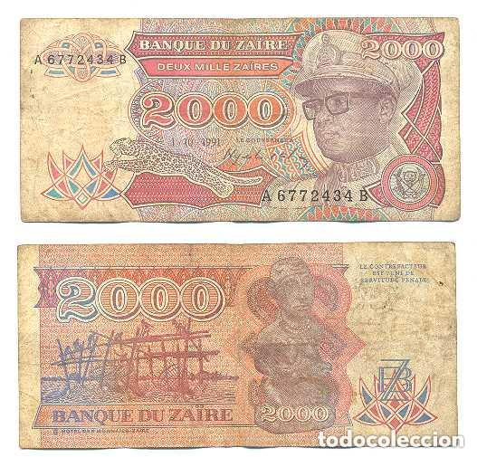 ZAIRE 2.000 ZAIRES 1991 PICK 36.A (Numismática - Notafilia - Billetes Extranjeros)