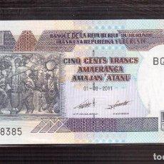 Billetes extranjeros: BILLETES DE AFRICA BURUNDI 500 FRANCS 2009 PICK 45A SC UNC. Lote 67959833