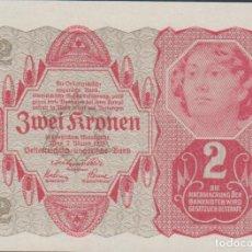 Notas Internacionais: BILLETES - AUSTRIA - 2 KRONEN - 2-1-1922 - PICK-74 (SC). Lote 236859180