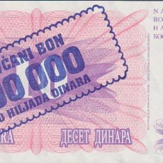 Billetes extranjeros: BILLETES BOSNIA HERZEGOVINA - 100.000 DINARA 10-XI-1993 - SERIE LG 90671473 - PICK-34B (SC). Lote 295741223