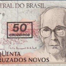 Billetes extranjeros: BILLETES BRASIL - 50 CRUZEIROS (1990) SERIE A 4641098109 A - PICK-223 (SC). Lote 159846604