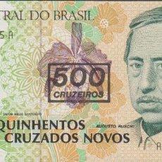 Billetes extranjeros: BILLETES BRASIL - 500 CRUZEIROS (1990) SERIE A 6677077321 A - PICK-226B (SC). Lote 147385761