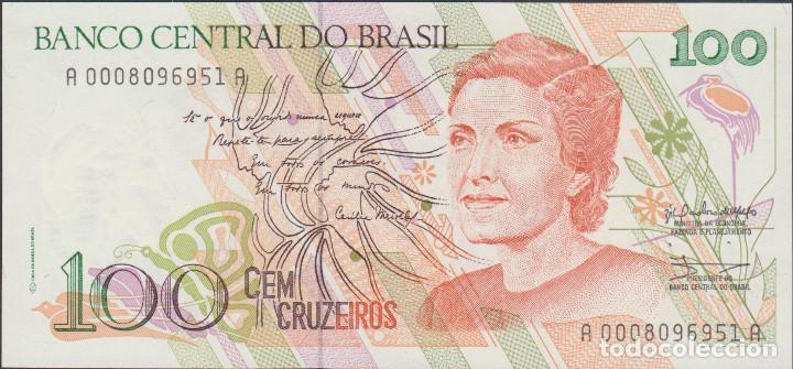 BILLETES BRASIL - 100 CRUZEIROS (1990) SERIE A 0008096952 A - PICK-228 (SC) (Numismática - Notafilia - Billetes Extranjeros)