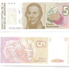 Billetes extranjeros: ARGENTINA 5 AUSTRALES 1985-89 PICK 324.B UNC. Lote 48525987