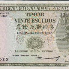 Billetes extranjeros: BILLETES - TIMOR - 20 ESCUDOS 1967 - SERIE Nº 1218302 - PICK-26 (EBC+). Lote 144604868