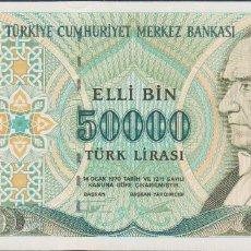 Billetes extranjeros: BILLETES - TURQUIA - 50.000 LIRA (1995) - SERIE M19-776651 - PICK-204 (SC). Lote 190902866