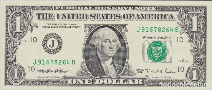 BILLETES - UNITED STATES-ESTADOS UNIDOS - 1 DOLLAR 1995 - SERIE J 91678262 B - PICK-496A (SC) (Numismática - Notafilia - Billetes Extranjeros)