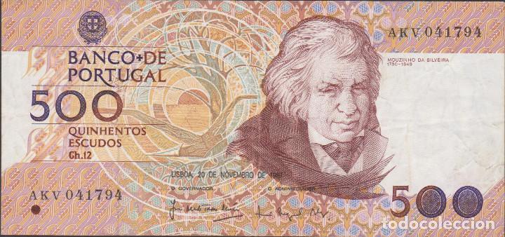 BILLETES - PORTUGAL 500 ESCUDOS 1987 - SERIE AKV - PICK-180A (MBC) (Numismática - Notafilia - Billetes Extranjeros)
