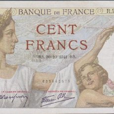 Billetes extranjeros: BILLETES FRANCIA - 100 FRANCS 30-10-1941 - SERIE R.25338 - PICK-94 (MBC). Lote 68707133