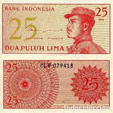 Notas Internacionais: [CF2018] INDONESIA 1964, 25 SEN (UNC). Lote 87015284