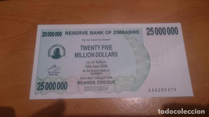 BILLETE DE 25 000 000 MILLIONS DOLAR DE ZIMBABWE CALIDAD SC AÑO 2008 (Numismática - Notafilia - Billetes Internacionales)