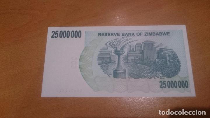 Billetes extranjeros: billete de 25 000 000 millions dolar de zimbabwe calidad sc año 2008 - Foto 2 - 190213126