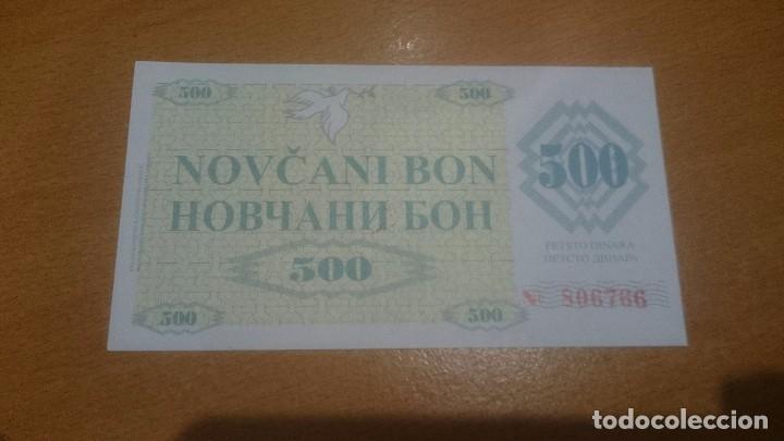 Billetes extranjeros: billete de bosnia and herzegovina 500 dinara 1992 nick 7 sello fojmica calidad sc - Foto 2 - 69062377