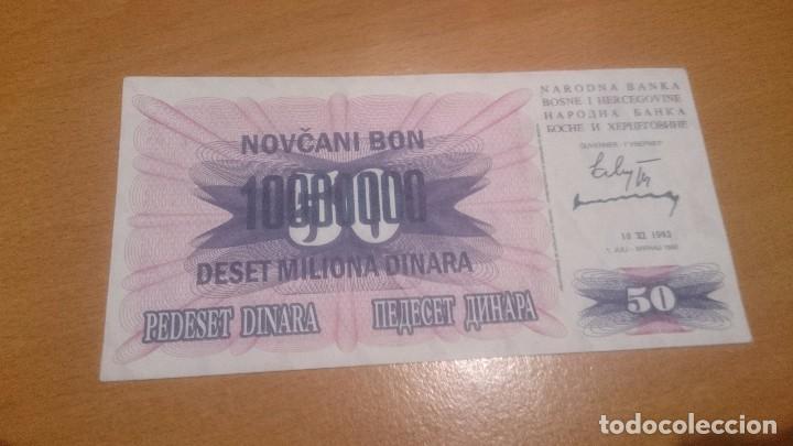 BILLETE BOSNIA AND AHERZEGOVINA 10 000000 DINARA ALO 1993 NICK 36 CALIDAD SC (Numismática - Notafilia - Billetes Internacionales)
