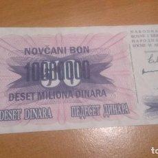 Billetes extranjeros: BILLETE BOSNIA AND AHERZEGOVINA 10 000000 DINARA ALO 1993 NICK 36 CALIDAD SC. Lote 69062673
