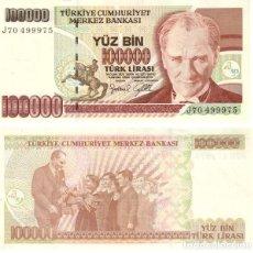 Billetes extranjeros: TURQUIA - TURKEY 100.000 LIRASI 1997 (L1970) FIRMA I PICK 206. UNC. Lote 48270865