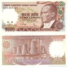 Billetes extranjeros: TURQUIA - TURKEY 5.000 LIRASI 1990 (L1970) FIRMA II PICK 198. UNC. Lote 48270916