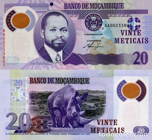 MOZAMBIQUE 20 METICAIS DE 2011 SIN CIRCULAR POLIMERO (Numismática - Notafilia - Billetes Extranjeros)