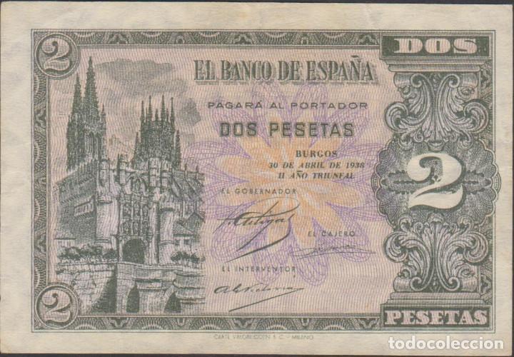 BILLETES ESPAÑOLES-ESTADO ESPAÑOL 2 PESETAS 1938 (SERIE C) (MBC) (Numismática - Notafilia - Billetes Extranjeros)