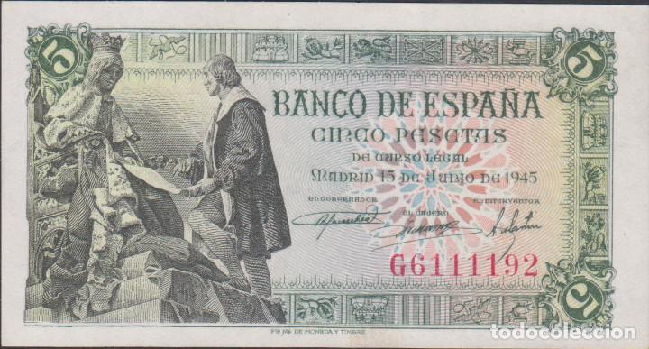 BILLETES ESPAÑOLES-ESTADO ESPAÑOL 5 PESETAS 1945 (SERIE G) (EBC+) (Numismática - Notafilia - Billetes Extranjeros)