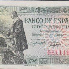Billetes extranjeros: BILLETES ESPAÑOLES-ESTADO ESPAÑOL 5 PESETAS 1945 (SERIE G) (EBC+). Lote 69307353
