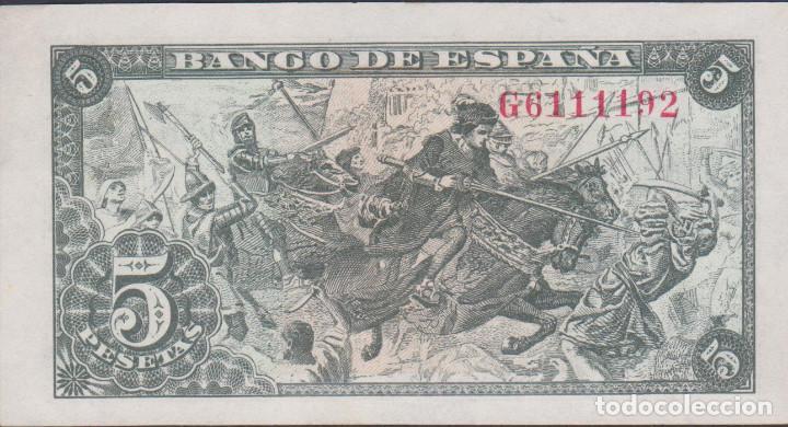 Billetes extranjeros: billetes españoles-ESTADO ESPAÑOL 5 pesetas 1945 (serie g) (ebc+) - Foto 2 - 69307353