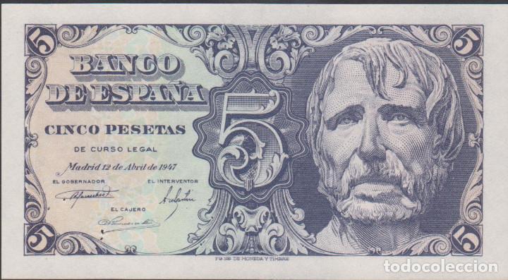 BILLETES ESPAÑOLES-ESTADO ESPAÑOL 5 PESETAS 1947 (SERIE B) (SC) (Numismática - Notafilia - Billetes Extranjeros)