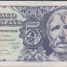 Billetes extranjeros: BILLETES ESPAÑOLES-ESTADO ESPAÑOL 5 PESETAS 1947 (SERIE B) (SC). Lote 69307497