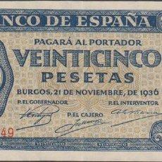 Billetes extranjeros: BILLETES ESPAÑOLES-ESTADO ESPAÑOL 25 PESETAS 1936 (SERIE R) (EBC). Lote 69307681