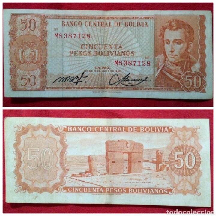 BILLETE DE BOLIVIA 50 PESOS 1962 (Numismática - Notafilia - Billetes Extranjeros)