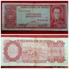 Billetes extranjeros: BILLETE DE BOLIVIA 100 PESOS 1962. Lote 69387883