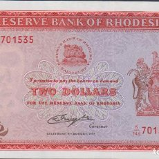 Billetes extranjeros: BILLETES - RHODESIA - 2 DOLLARS 1977 - SERIE K/146 - PICK-31B (SC). Lote 69725345