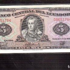 Billetes extranjeros: BILLETES DE AMERICA ECUADOR PLANCHA. Lote 69759713