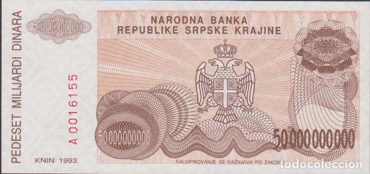 Billetes extranjeros: BILLETES CROACIA - 50.000.000.000 dinara - 1993 serie A 0016159 - pick-R29 (SC) - Foto 2 - 180148392