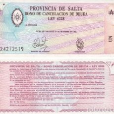 Billetes extranjeros: ARGENTINA 1 AUSTRAL 1987 PROVINCIA SALTA PICK S2612 UNC. Lote 71220165