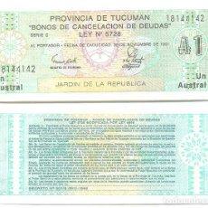 Billetes extranjeros: ARGENTINA 1 AUSTRAL 1991 PROVINCIA TUCUMAN PICK S2711 UNC. Lote 71220221