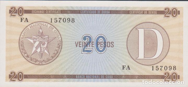 BILLETES CUBA - 20 PESOS ND (CERTIFICADO DE DIVISA) - SERIE FA 157095 - PICK-NO (SC) (Numismática - Notafilia - Billetes Extranjeros)